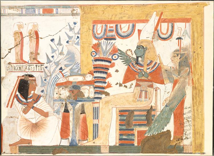 Userhat Kneeling Before Osiris and the Goddess of the West, Tomb of Userhat - Ancient Egyptian Painting