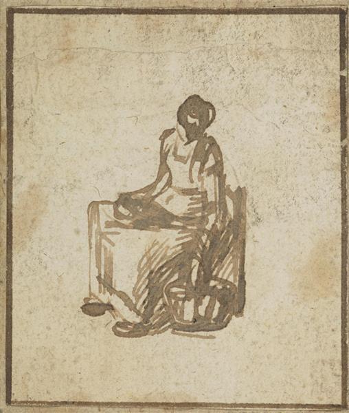 Seated Female Figure - Adam Elsheimer