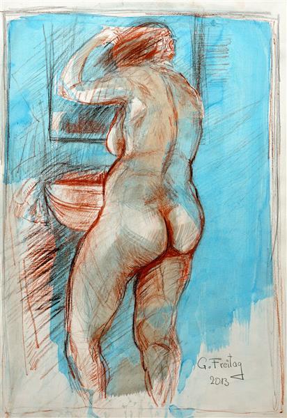 Nude in bathroom 2, 2013 - Gazmend Freitag