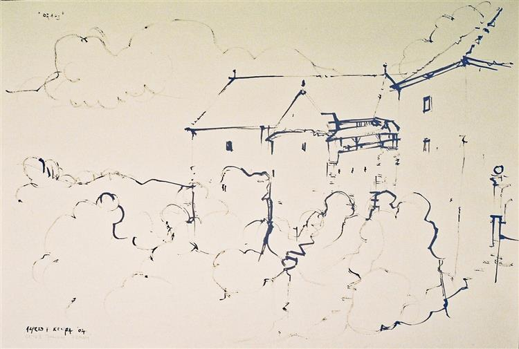Drawing with a turkey feather: The Ozalj Castle, 2004 - Alfred Freddy Krupa