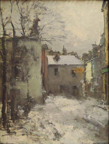 Paris, Montmartre, la Place du Tertre, l'hiver - Pierre-Jacques Pelletier