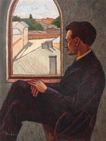 oil on canvas''poetul'' - Nina Arbore