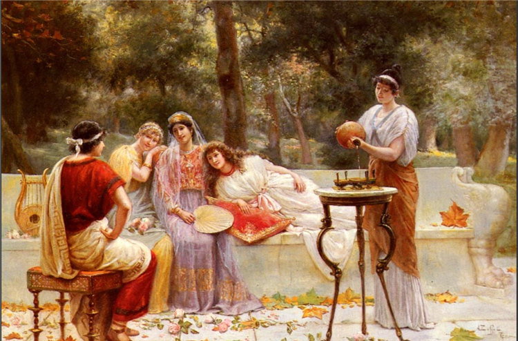 Classical Figures In A Garden - Angelo Zoffoli
