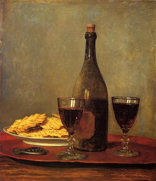 Still Life: Two Glasses of Red Wine, a Bottle of Wine, a Corkscrew and a Plate of Biscuits on a Tray - Albert Anker