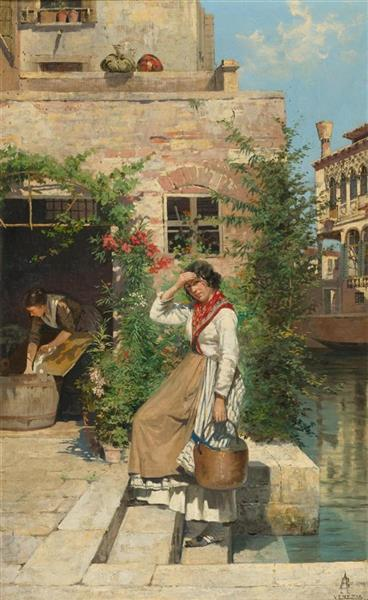 Vetian Washer at a Canal - Antonietta Brandeis