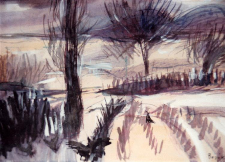 Snowy Landscape with Crows, c.1981 - Maria Bozoky