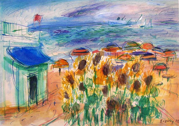 Beach with Sunflowers and Umbrellas, 1979 - Maria Bozoky