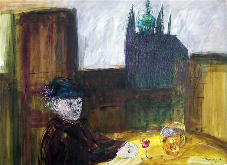 Vitus Cathedral with an Old Lady, 1984 - Maria Bozoky