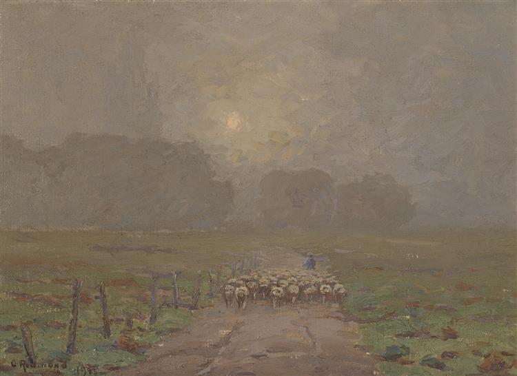 Shepherd Herding Sheep in a Misty Landscape - Granville Redmond