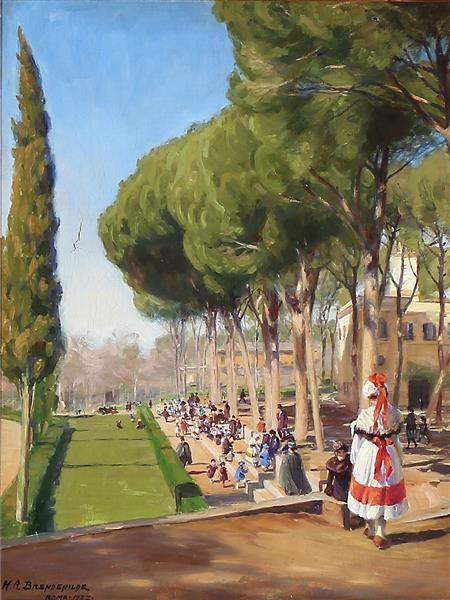"Len,""summer Day in Villa Borghese in Rome"", 1922 - Hans Andersen Brendekilde"