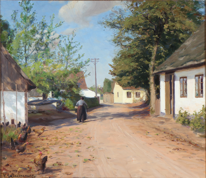 An Elderly Woman in a Village Street, 1922 - Hans Andersen Brendekilde