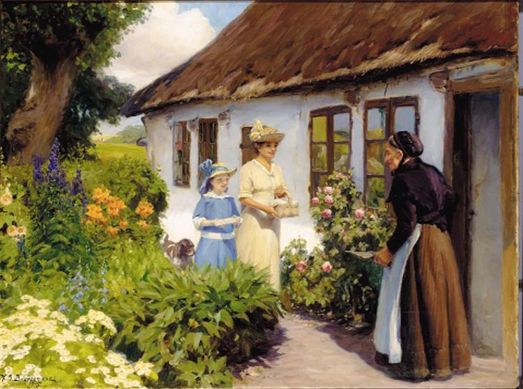 Gamle Lines Fødselsdag., 1916 - Hans Andersen Brendekilde