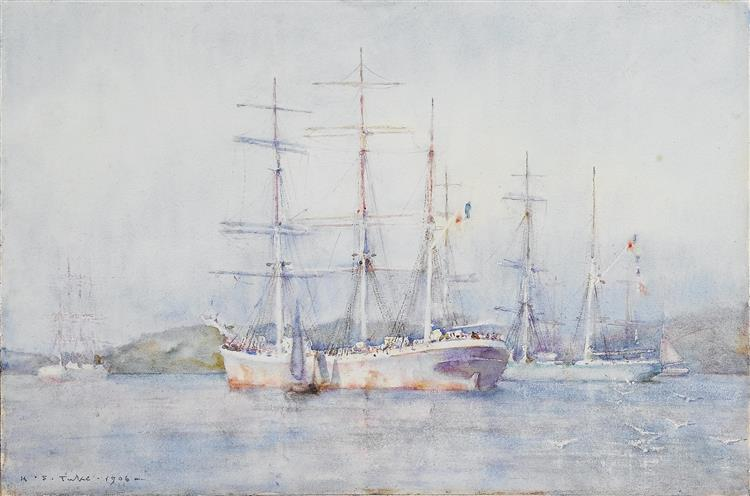 Two French barques at their anchorage in Carrick Roads - Henry Scott Tuke