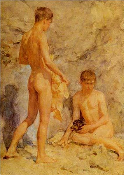 Two Boys and a Dog, c.1914 - Henry Scott Tuke