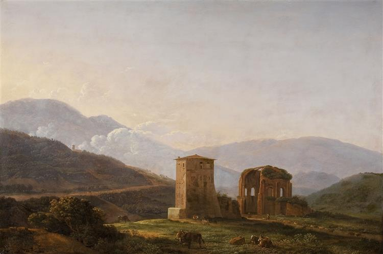 An Italianate Landscape with Ruins and Cattle - Jean-Joseph-Xavier Bidauld