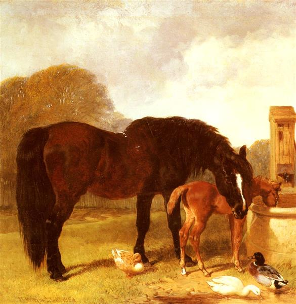 Horse and Foal watering at a trough - John Frederick Herring Sr.