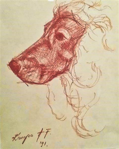 Sketch of the dogs head, 1991 - Alfred Freddy Krupa
