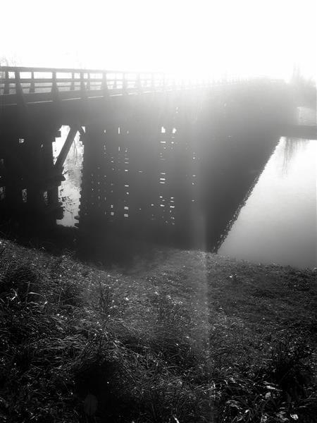 The wooden bridge at Korana river in early morning, 2013 - Alfred Freddy Krupa
