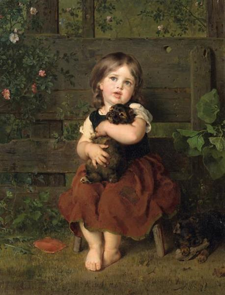 Little Girl with Dachshund Puppy, 1865 - Ludwig Knaus