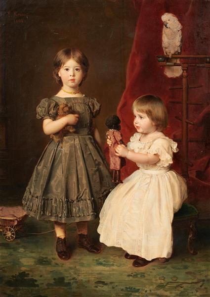 Doppelporträt Der Töchter Des Künstlers, Marie Und Hedwig Knaus, 1864 - Ludwig Knaus