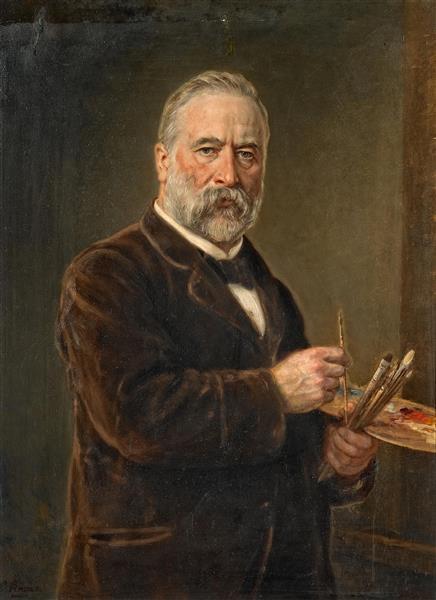 Selbstporträt Mit Malerpalette, 1890 - Ludwig Knaus