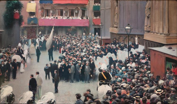 The Corpus Christi Procession Leaving the Church of Santa Maria Del Mar, 1898 - Ramon Casas