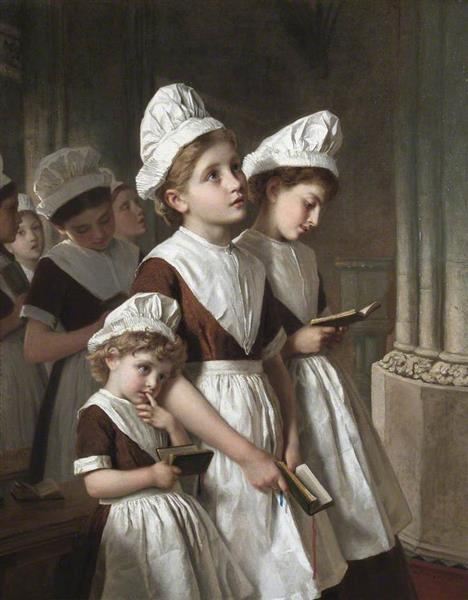 Foundling Girls at Prayer in the Chapel, c.1877 - Sophie Gengembre Anderson