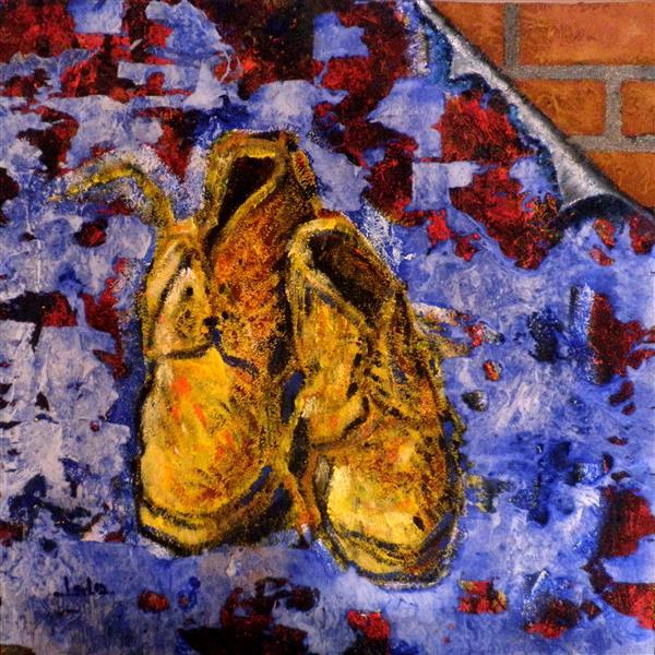 2004   Los Zapatos De Van Gogh T.M..Lienzo 50x50, 2004 - Lalo Relinque