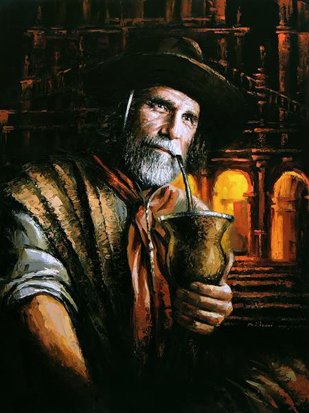 Santo Ângelo Missioneiro - Pintura Espatulada sobre tela - Fabiano Millani