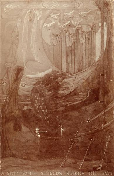 A Ship with Shields Before the Sun - Frances Macdonald