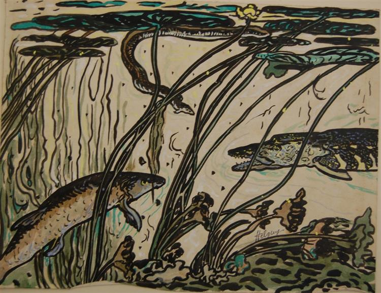 Pike, pikeperch(zander) and eel, 1922 - Hélène Guinepied
