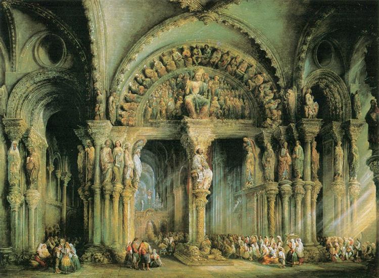 Pórtico de la Gloria, Santiago de Compostela Cathedral, c.1849 - Jenaro Pérez Villaamil