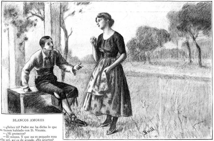 Blancos amores il·lustració del conte de Josep M. Folch i Torres, c.1910 - Joan Brull