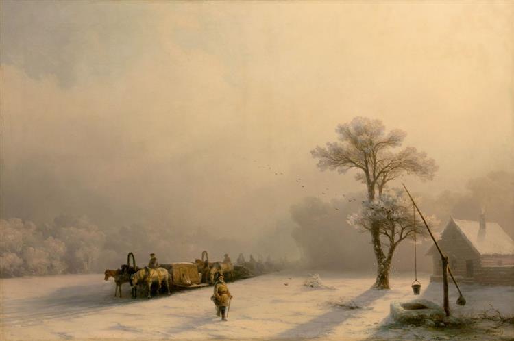 Winter Caravan on Road, 1857 - Ivan Aivazovsky