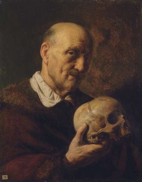 Old Man Holding a Skull, c.1630 - Jan Lievens