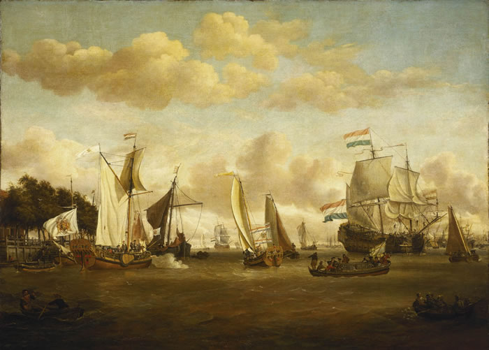 A Dutch Yacht on the River Y - Abraham Storck