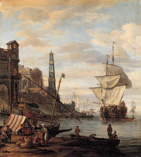 Mediterranean Harbour Scene - Abraham Storck