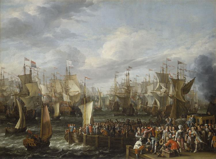 Departure of William III from Hellevoetsluis, 19 October 1688, 1688 - Abraham Storck