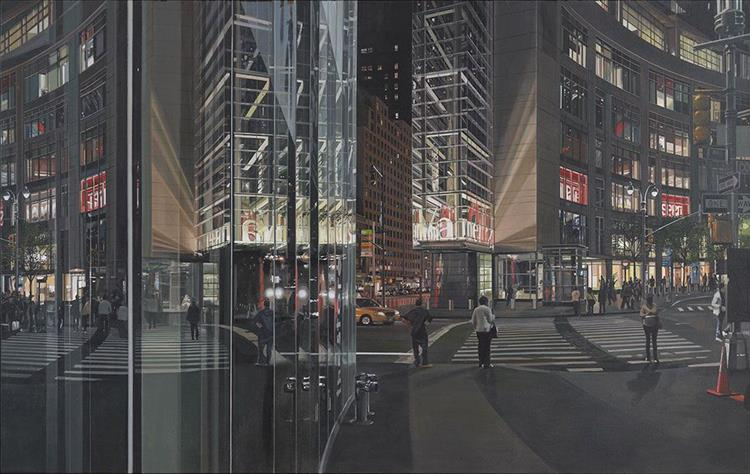 Columbus circle at night, 2010 - Richard Estes