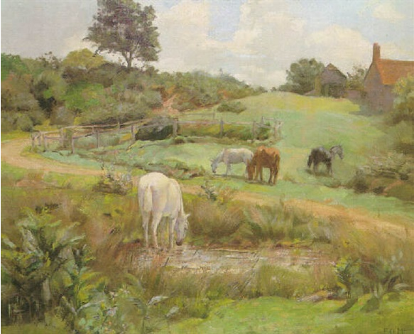 Horses grazing in a Normandy landscape - Frank O'Meara