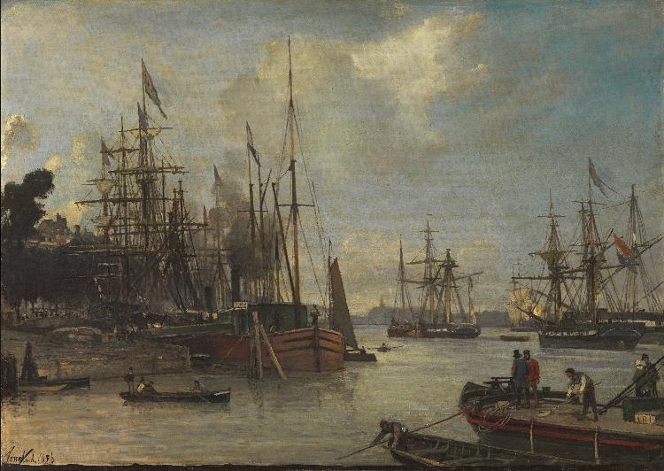 A View of the Harbour, Rotterdam, 1856 - Johan Jongkind