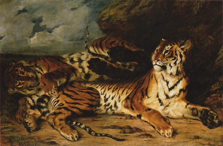 A Young Tiger Playing with Its Mother, 1831 - Eugene Delacroix