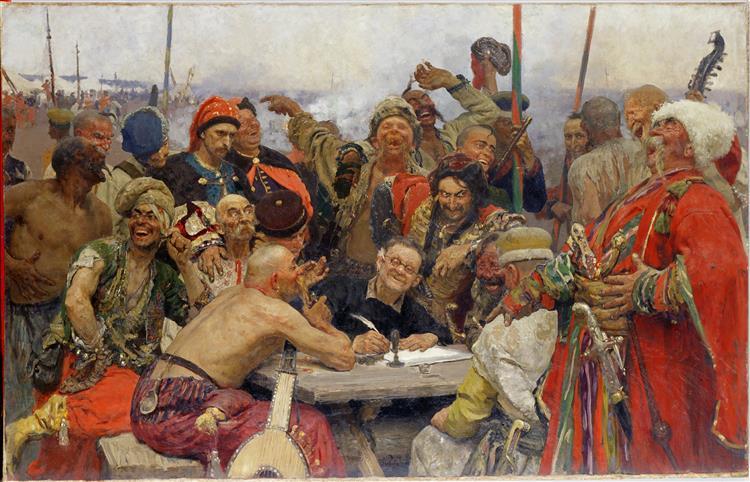 Cosacos zapórogos escribiendo una carta al Sultán, 1878 - 1891 - Iliá Repin