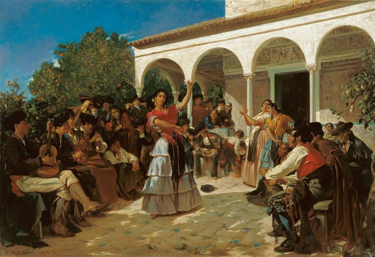 A Gypsy Dance in the Gardens of the Alcázar, in Front of Charles V Pavilion - Alfred Dehodencq