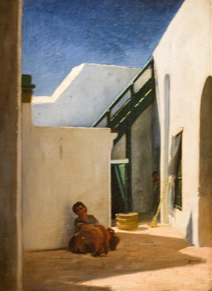 Cour De Maison Marocaine - Alfred Dehodencq