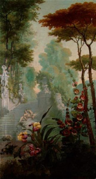 Flower beds in a park - Joseph-Noël Sylvestre
