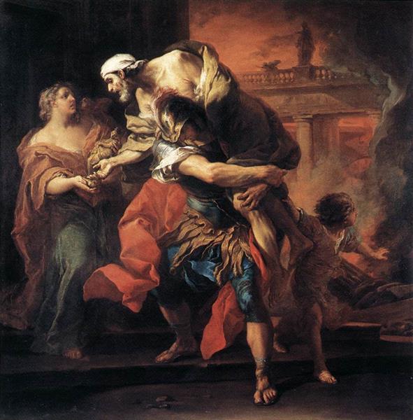 Aeneas Carrying Anchises, 1729 - Шарль Андре Ван Лоо