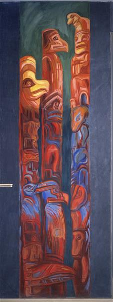 Panel 9. Totem Poles - The Epic of American Civilization, 1932 - 1934 - Jose Clemente Orozco