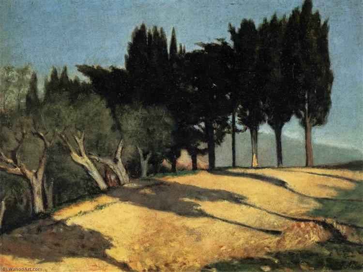 Country Road with Cypresses, 1860 - Giuseppe Abbati
