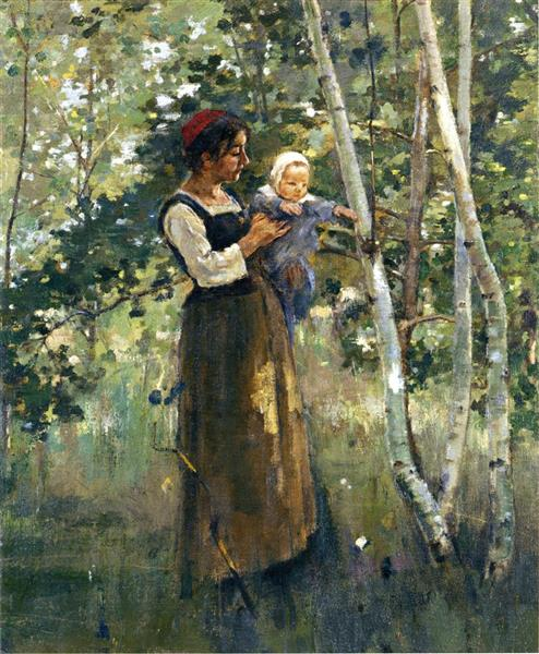 Mother and Child by the Hearth, 1887 - Theodore Robinson